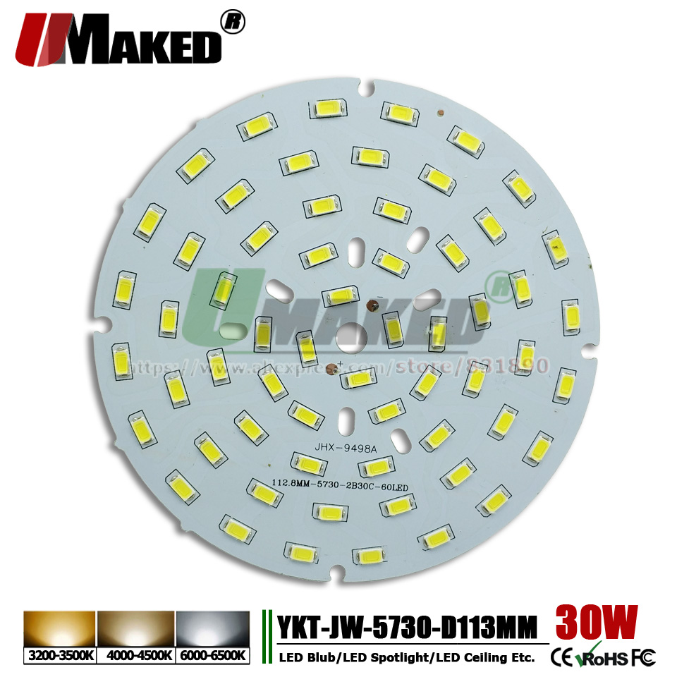 UMAKED 30W 113mm SMD5730 LED PCB Ceiling Lamp Bulb Spotlight DIY LED Source Install Chip Aluminum Lamp plate Warm/Natural/White dc 12v 45w 155mm led pcb white red color input dc12v needn t driver smd5730 high lumen aluminum lamp plate