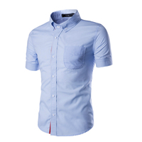 2018 Wholesale Men Short Sleeve   Shirt   Summer Ribbon Decorate Casual Slim Solid Dress   Shirts   Men Breathable Cotton White Clothes
