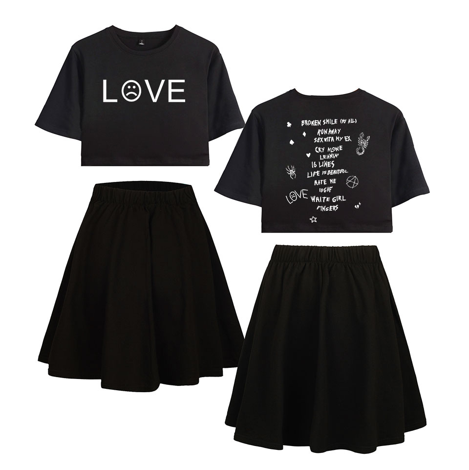 2019 Sets Lil Peep Summer Pop Women Casual Two Pieces Sets Sexy Short Skirt And T-shirts Clothes 2019 Hot Sale Kpops Sets XXL