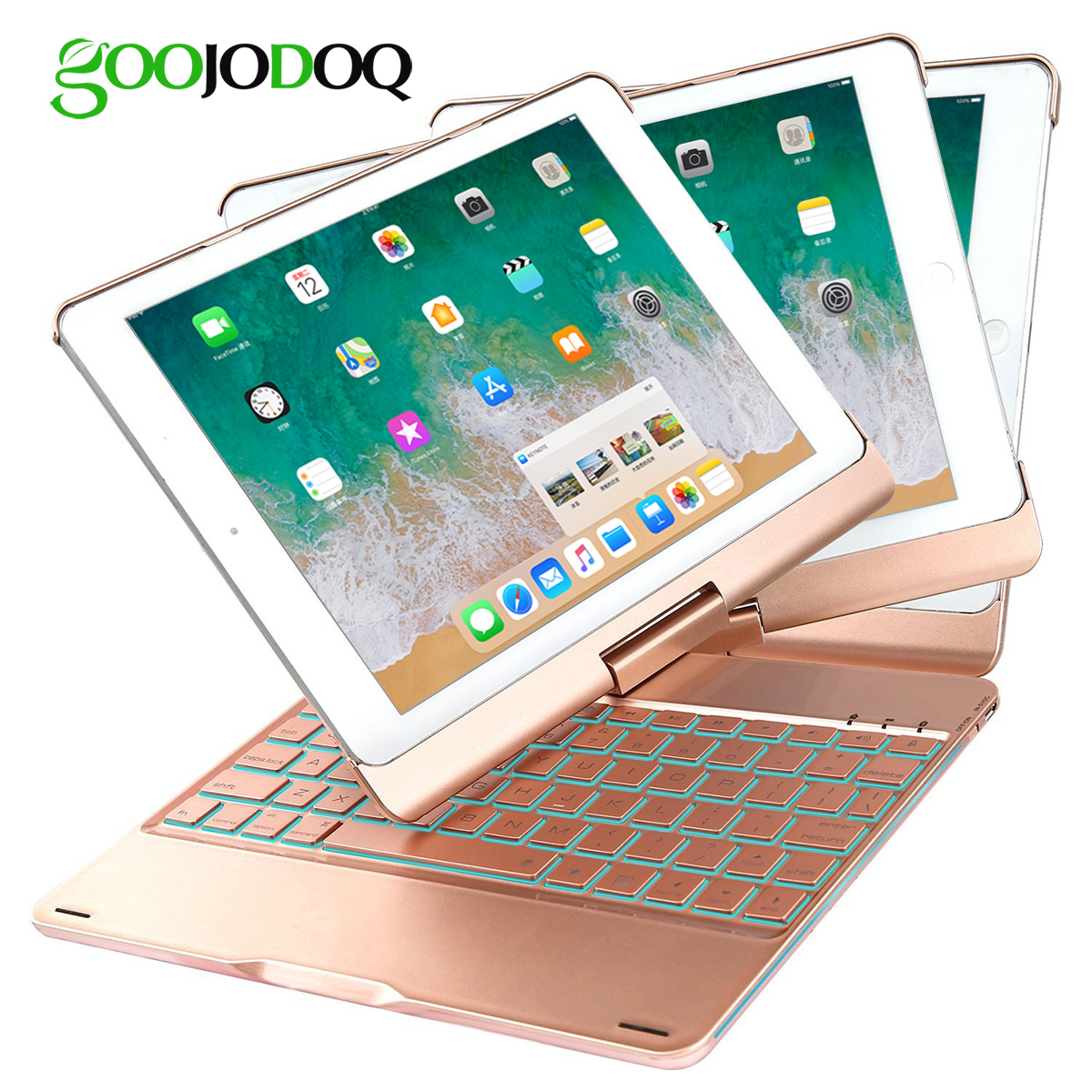 For iPad Pro 10.5 Case with Keyboard, 180 Flip Folio Cover 360 Degree Case for iPad Pro 10.5 7 Color Backlit Blueooth Keyboard