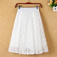 2017 Spring Summer New Ladies Skirt Waist Size Lace Openwork Thin Slim Skirt Pendulum Free Shipping