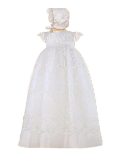 2016 Light Soft Heirloom Baby Girl Christening Gown White Ivory Baptism Dress Organza Lace Applique Robe WITH BONNET 0-24 month 2016 retro lace flowers white ivory first communion dress blessing heirloom christening gown with bonnet baby girls baptism robe