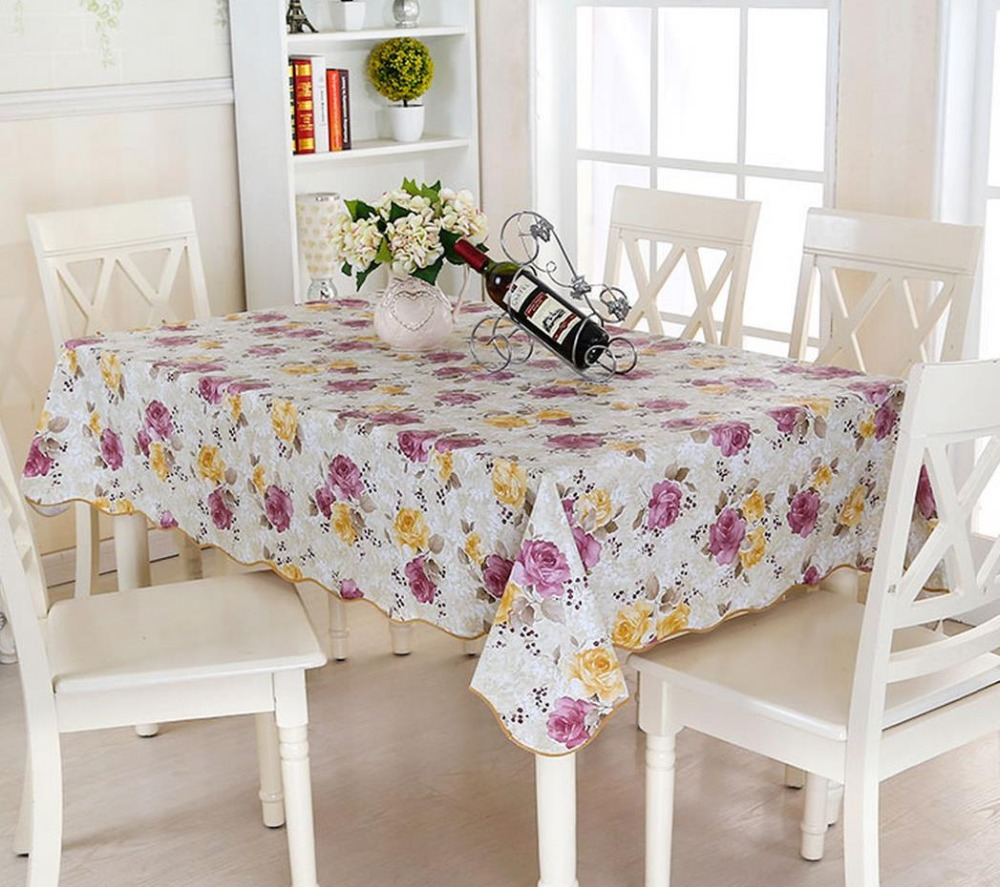 Table Skirt PVC Table Cloth Waterproof And Hot Oil Disposable Rural Meals  Art Round Table Mat