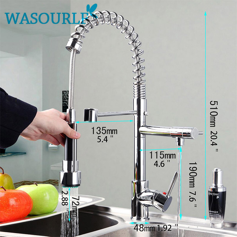 kitchen chrome plated brass faucet single handle pull-out pull down sink mixer hot and cold tap modern design free shipping 360 swivel 100% solid brass single handle mixer sink tap pull out down kitchen faucet white and chrome color kf771