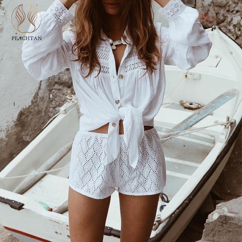 7781dcad4 Peachtan Sexy blanco playa cubrir hacia arriba verano 2019 nueva túnica  para mujeres de manga larga ...