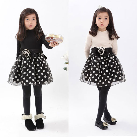 e562826d77395 New 2014 Winter Spring Kids Dot Bow Clothing Girls Princess Party Dresses  Kids Long Sleeve Casual Dress Size 3-7 Years