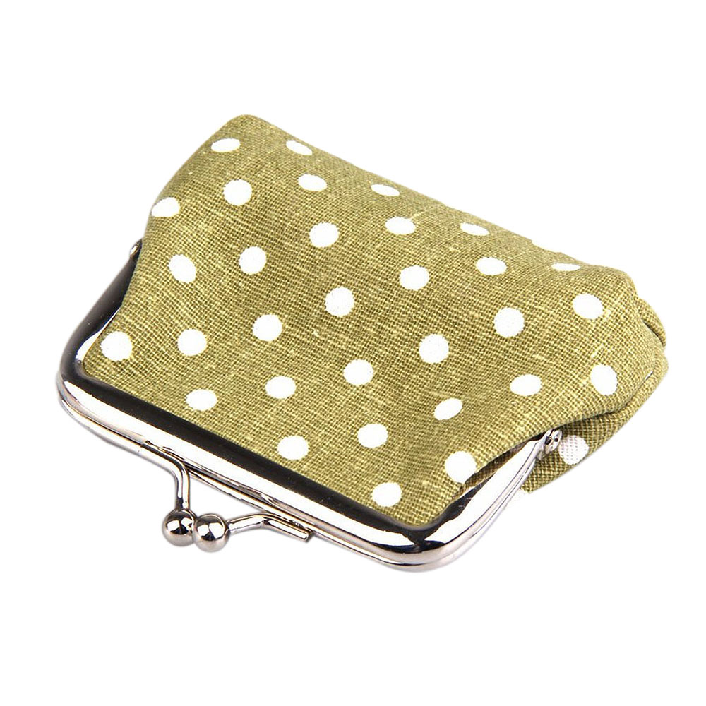 Cute Girl Mini Purse Polka Dots Pattern Coin Change Key Pouch Snap Closure
