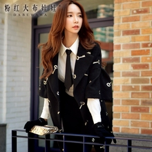 dabuwawa autumn winter ladies appliques embroidery handsome cute casual black middle long woolen coat 2016 pink doll