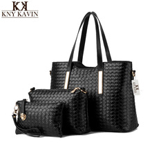 New Women Black Bucket Bag Ladies Handbags PU Leather Shoulder Bag Luxury Brand Handbag Braided Lines