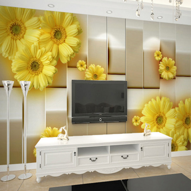 Modern Simple 3D Stereo Fashion Yellow Flower Photo Wallpaper Living ...