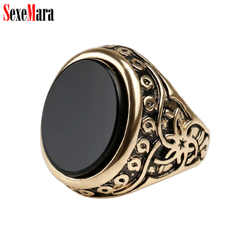 SexeMara Oval Retro Men Ring Vintage Alloy Plated Antique Gold Silver Black Resin Finger Rings for Man Ancient Jewelry Wholesale