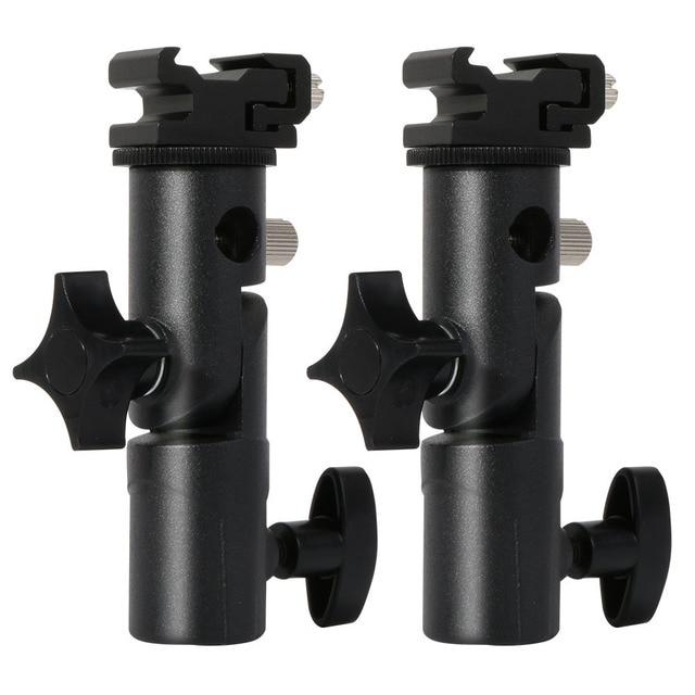 2 упаковки, крепление для вспышки камеры Speedlite, поворотный светильник, подставка, кронштейн, зонт отражатель, держатель для canon, nikon, yongnuo, godox