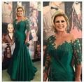 Moeder Van De Bruid Sexy verde Plus Size Evening Formal vestido com manga comprida apliques sereia mãe dos vestidos De noiva