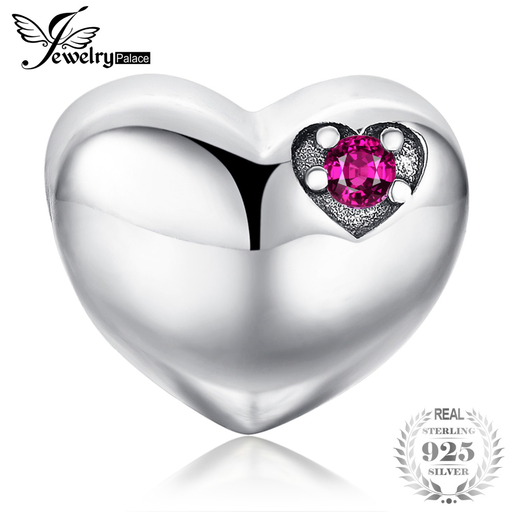 JewelryPalace Forever Us Created Ruby 925 Sterling Silver Heart Charm Beads Fit Bracelets For Women Fine Jewelry As Best GiftsJewelryPalace Forever Us Created Ruby 925 Sterling Silver Heart Charm Beads Fit Bracelets For Women Fine Jewelry As Best Gifts