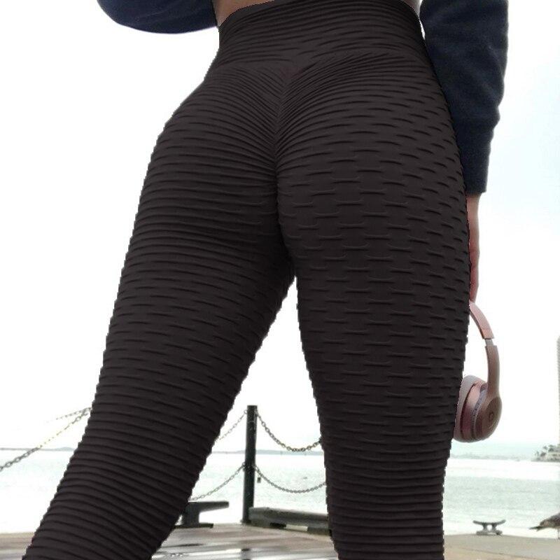 Black   Leggings   Women Polyester Calf Length Anti-Cellulite Fold Pants Elasticity Keep Slim Push Up Fitness Female   Legging   S-XL