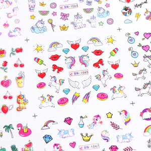 Image 3 - 12 Designs Unicorns Rainbow Sliders for Nails Watermark Sticker Wings Lovely Nail Art Decorations Manicure Tattoo LABN1057 1068