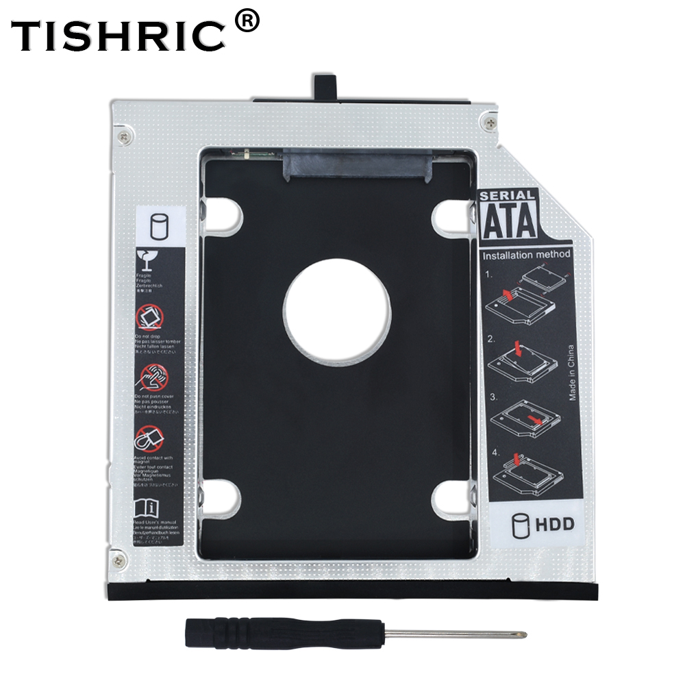 TISHRIC Optibay Aluminum 12.7mm SATA 3.0 2nd 2.5 HDD SSD Caddy For Lenovo ThinkPad T510 T520 T530 T420 T430 Hard Drive Enclosure fashion 10pcs professional makeup powder foundation blush eyeshadow brushes sponge puff 15 color cosmetic concealer palette