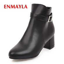 ENMAYLA 2018 New Fashion women pointed toe square zip heel ankle boot lady solid high heel buckle boots Size 34-43 ZYL551 nesimoo size 34 43 fashion zipper 2017 round toe pu leather women shoes square high heel ankle boot women motorcycle boot
