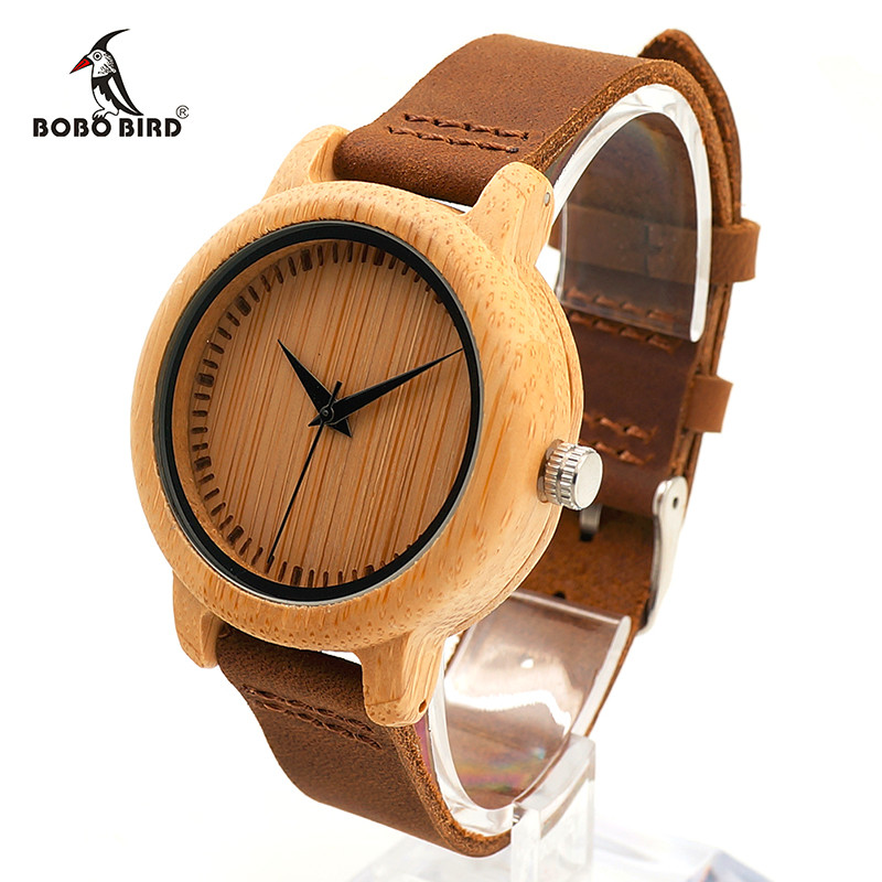 BOBO BIRD WA10 Women Watches Bamboo Wooden Watch Real Leather Band Quartz Watch As Gift For Ladies Accept OEM Relogio bobo bird wh29 mens zebra wood watch real leather band cool visible quartz wooden watches for men with gift box dropshipping