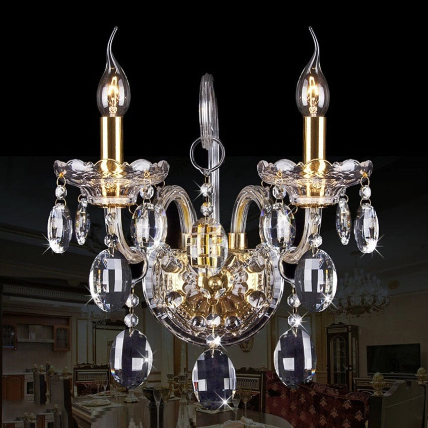 New Luxury Crystal Wall Lamp Free Shipping Wall Lights Bedroom Bedside Wall Sconce Candle 2 Heads Stair Light Fixtures free shipping european style modern luxury brief crystal candle pendant lamp with 3 heads 5 heads