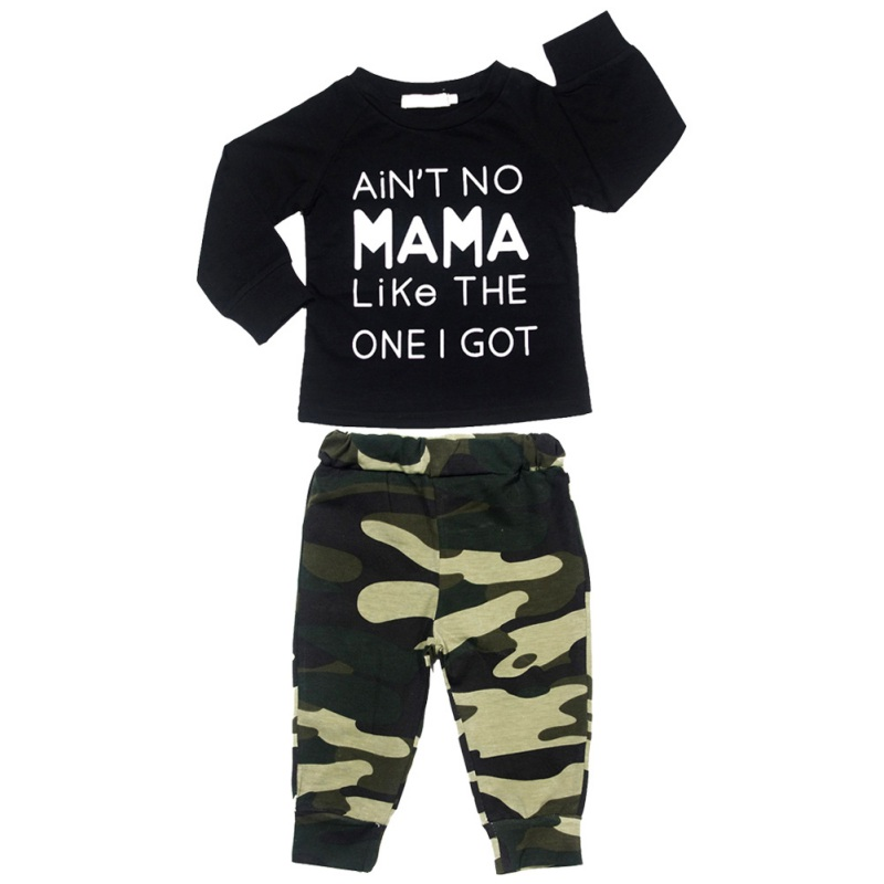 2 PCS Set Printed Cotton Full Sleeve T-shirts Tops + Camouflage Pants Clothing Set Newborn Baby Boy Girl Hot Clothes