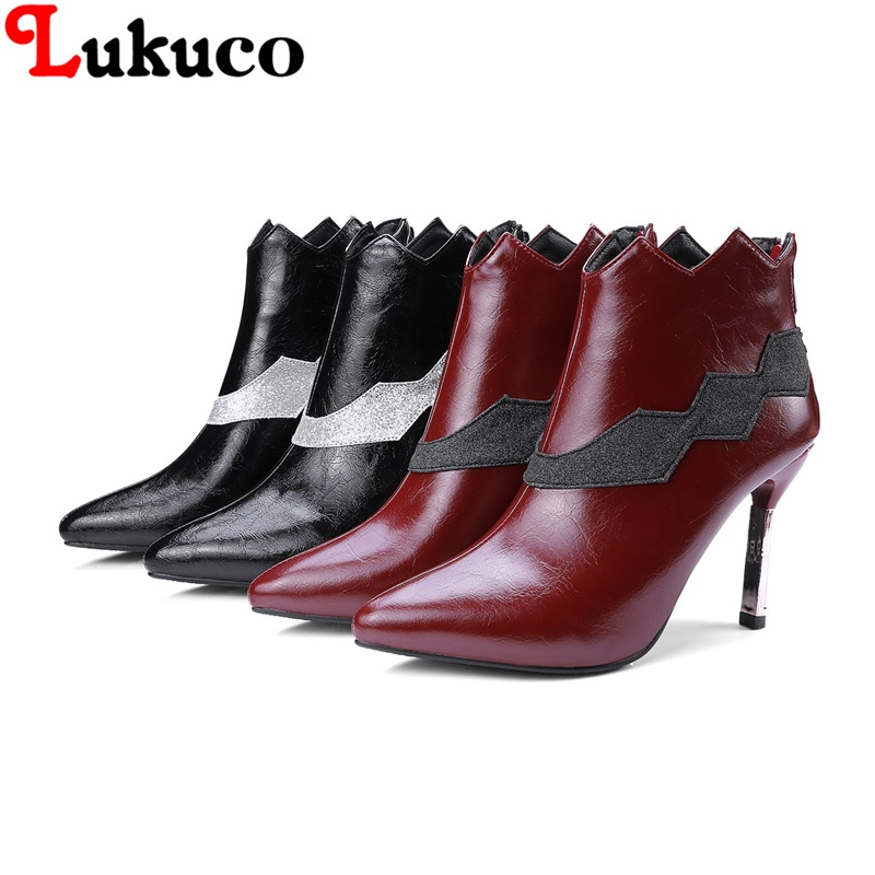 2018 MIX-COLOR lady ankle boots large CN size 36 37 38 39 40 41 42 43 pointed toe design women Boots real pictures free shipping