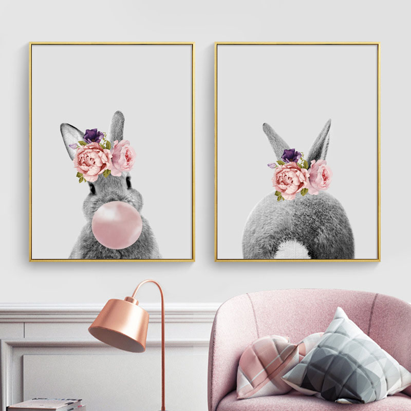 Rabbit Pink Flower Bubble Wall Art Canvas Painting Nordic Posters And Prints Animals Pop Pictures Kids Room Home Decor