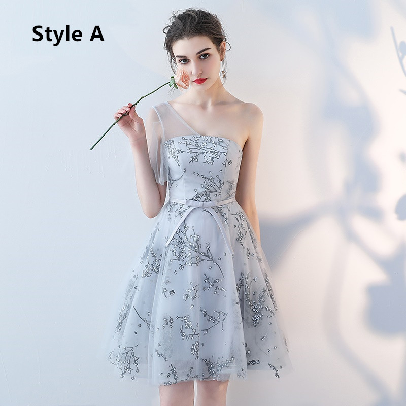 Flower Pattern Sashes Lace Knee Length Bridesmaid Dress 3