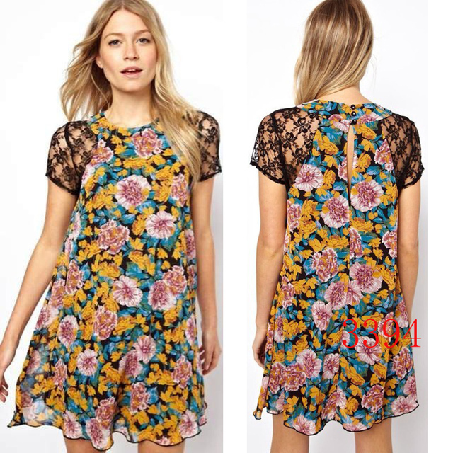 Fashion Women Flower Fl Lace Dresses Casual Patterns Dress Short Sleeve Printed
