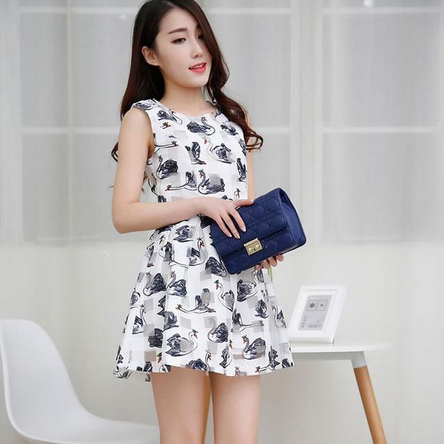 Korean Kawaii Swan Printed Ladies Dress Short Dress Kleider Women ...