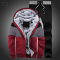 Chandal Hombre New Wool Liner Men's Hooded Winter Outwear Patchwork Warm Men Sweatshirts Plus Size Tracksuit  Wear for Men 2016