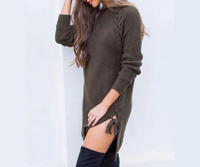 New Autumn Winter Women Solid sweater dress sexy long sleeve slim Bodycon Dresses Split Bandage Dress Knitted Dress vestidos цена