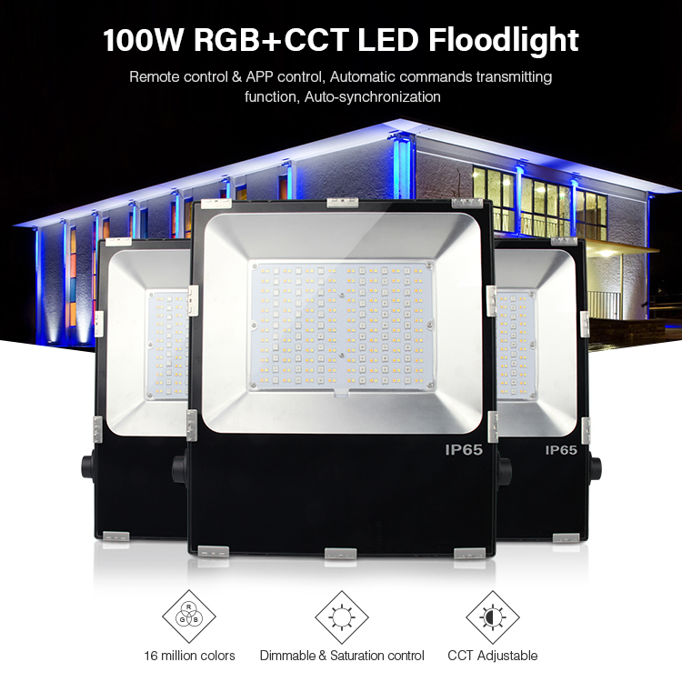 FUTT07 100W RGB+CCT LED Floodlight waterproof IP65 CCT adjustment 2.4G wireless remote wifi cellpnone APP control LED Spotlight ...