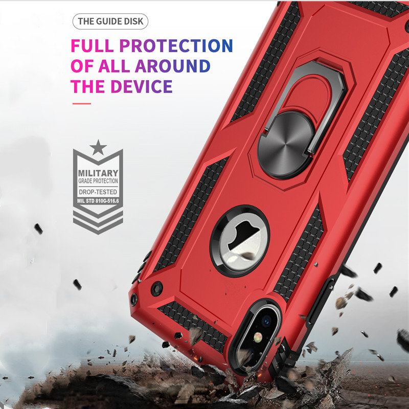 Luxury Phone Case For iphone 7 8 X XR XS MAX 6 6s Plus Cover Ring Bracket PC TPU Double protection shockproof Anti fall Coque