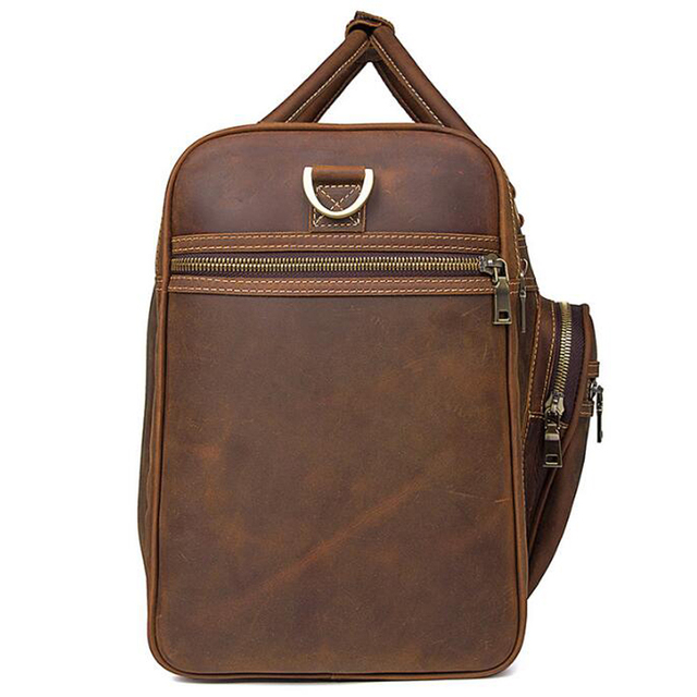 ANAPH Holdall/ Genuine Leather Bag For Men In Brown/ Large Men's Weekender Travel Duffle Bags 23 Inch/ Carry On Luggage 5