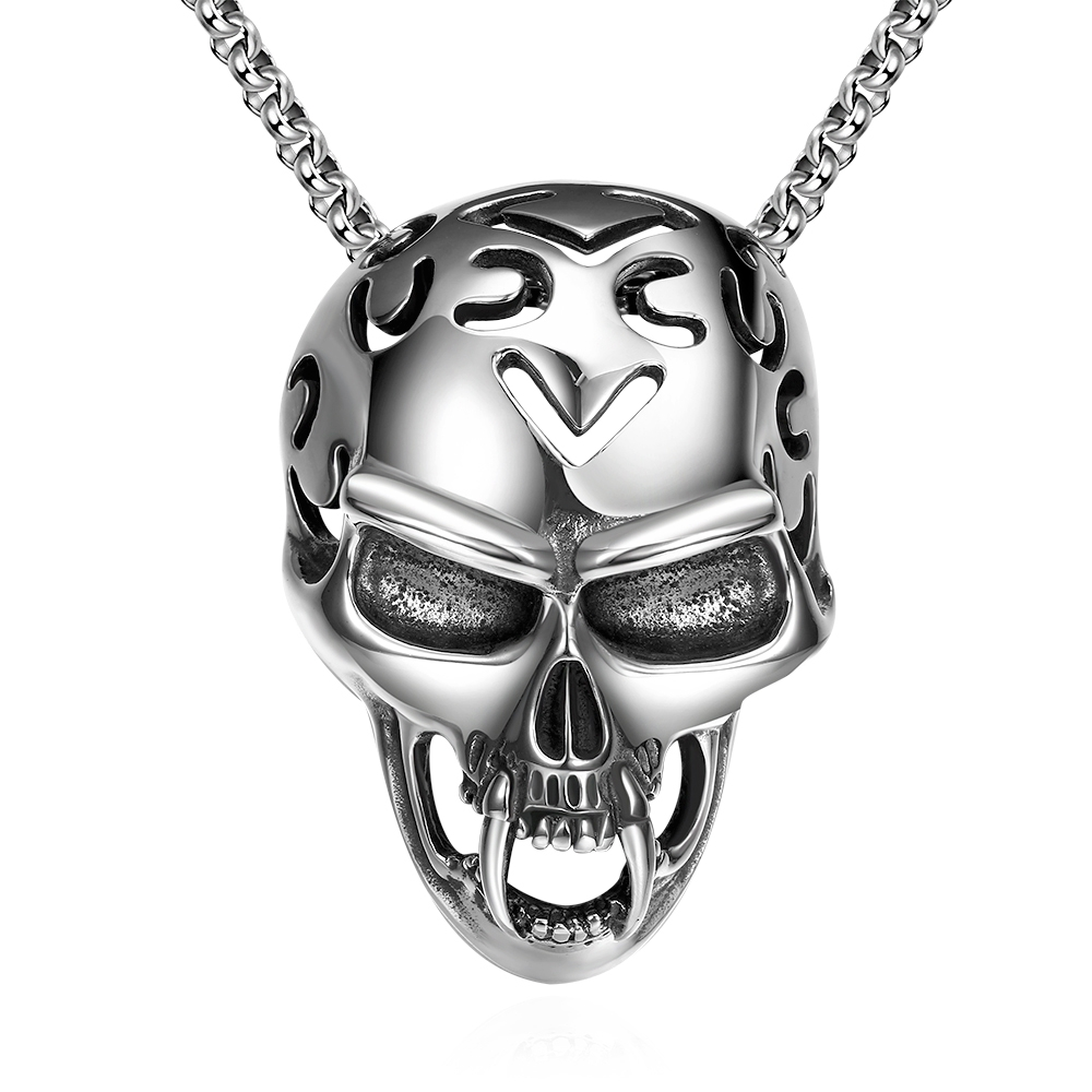 Hot sale 925 pure sterling silver jewelry Skull pendant necklace send male friend fine fashion gift sales promotion YN023