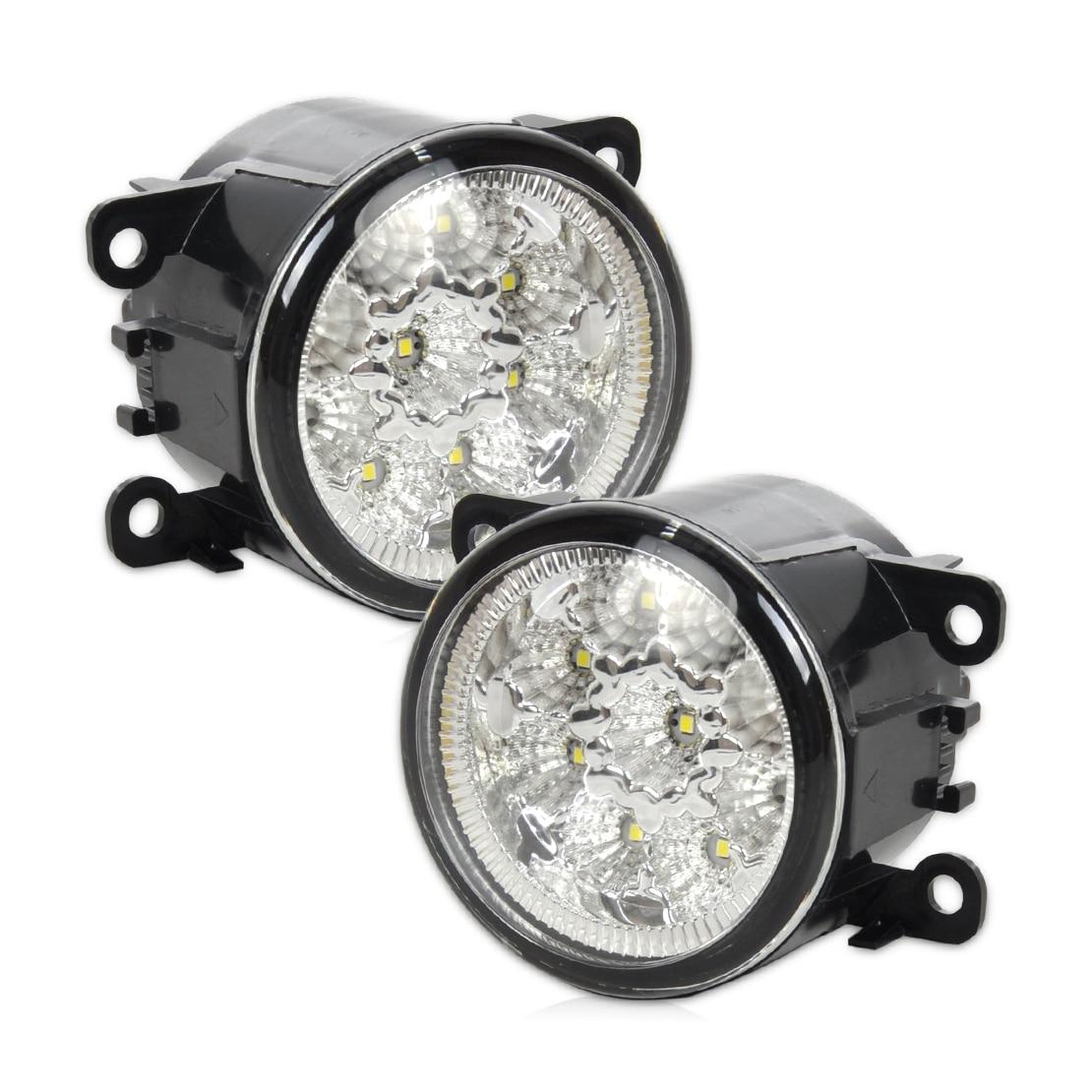 beler 2Pcs Right/Left Fog Lamp 55W 9-LED Round Front DRL Daytime Running Lights 4F9Z-15200-AA 33900STKA11 for Ford Acura Honda 2pcs left