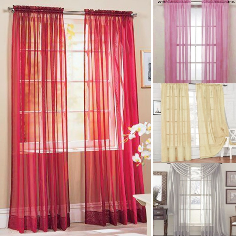 Curtains Door Bead Net Curtain Chiffon Voile Veil For Living Room Bedroom Door Window