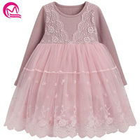 2018 New Fashion Spring Summer Girls Lace Elsa Dress Long Sleeved Princess Dresses COTTON Embroidery Costume