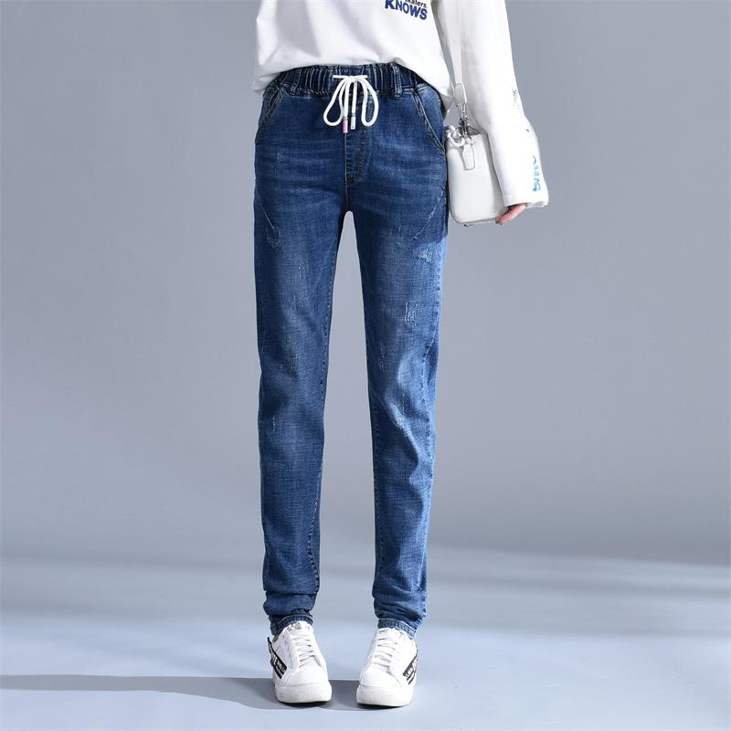 Free Shipping Women's   2019 new  long XL jeans elastic waist Harlan jeans 26-40