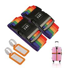 METABLE 2 Pcs Luggage Strap Suitcase Belts Adjustable Travel  Belt Baggage with Password Lock Clip and Tags Labels
