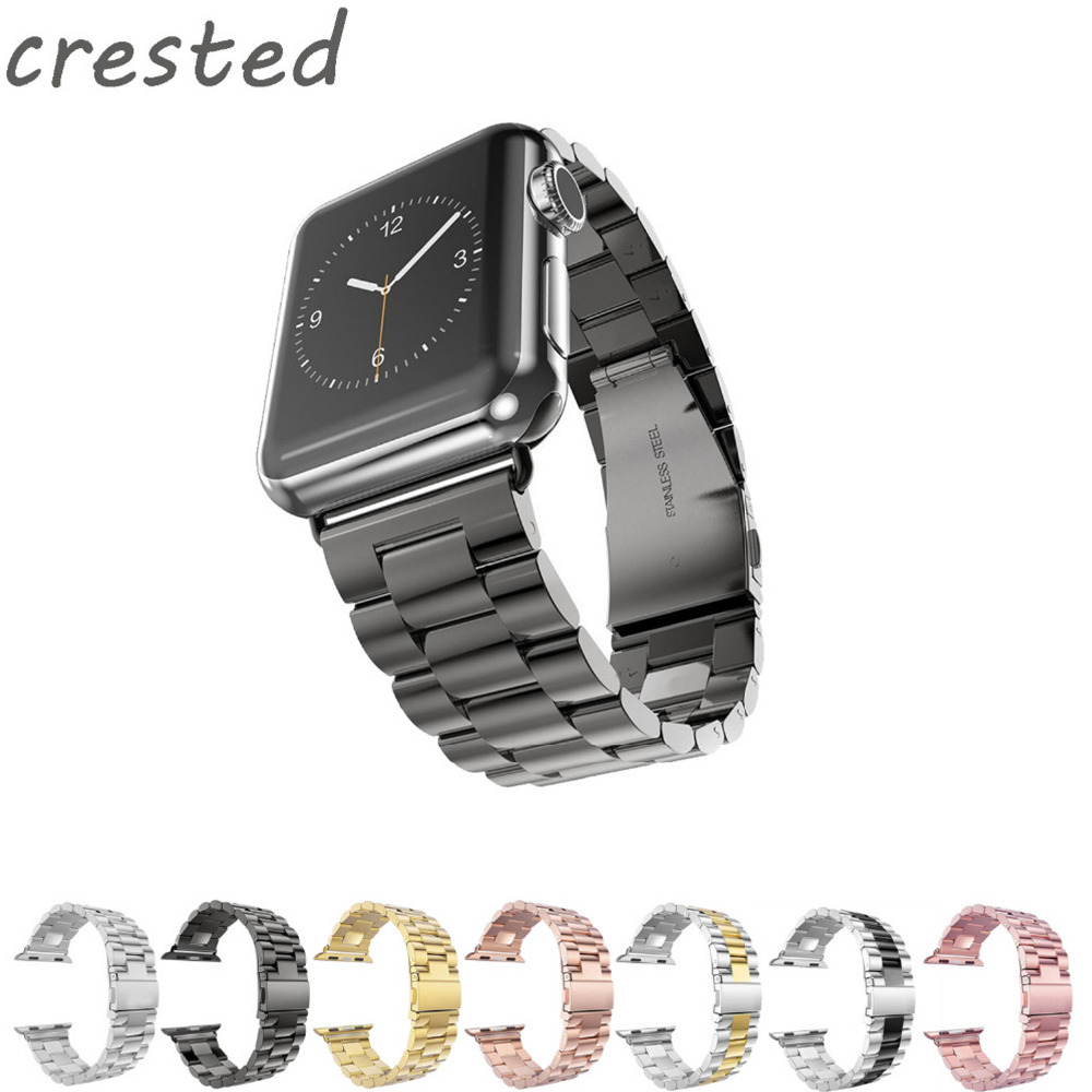 CRESTED Stainless Steel watch Band For Apple Watch band 42 mm/38 Link Bracelet strap Metal Band for iWatch serise 1 2 3 crested milanese loop strap metal frame for fitbit blaze stainless steel watch band magnetic lock bracelet wristwatch bracelet