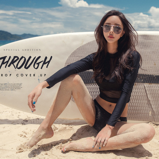 Wanita 2-Piece Set Ruam Penjaga Swimsuit Hitam See-Through Seksi Baju Renang Lengan Panjang Perlindungan Matahari Pantai surfing Suit Girls