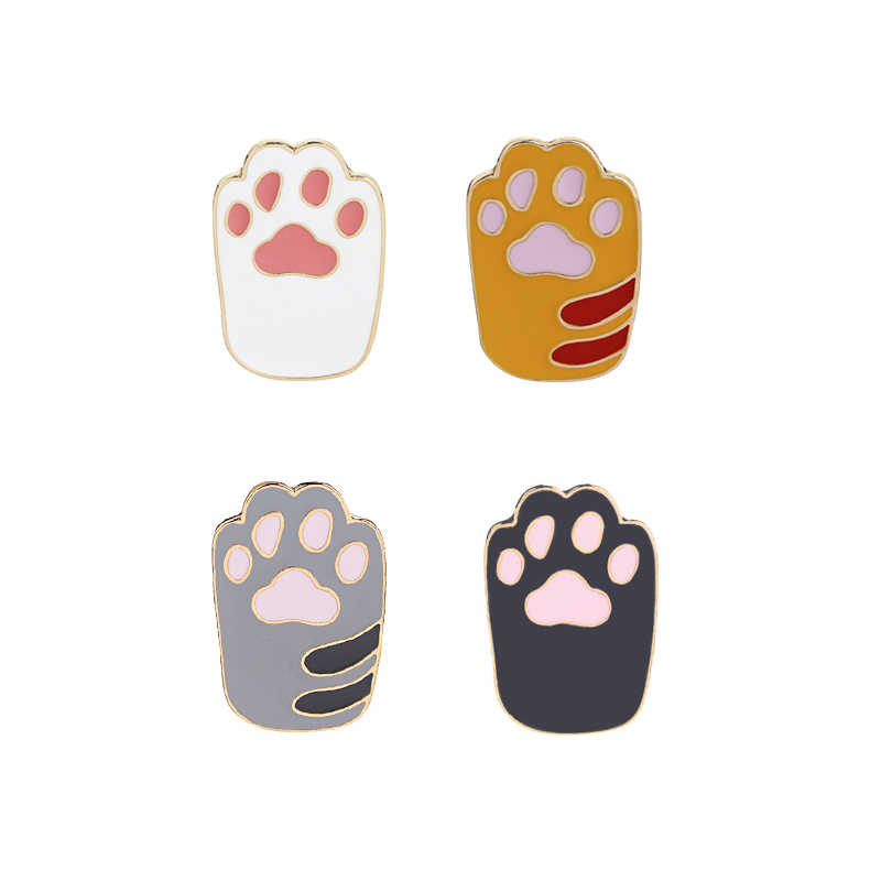 Enamel Kucing Prints Pin Bros Kecil Tiger Pin PET Bros HITAM PINK Kaki Pin Lencana Tombol Bros Baru Gothic brocade
