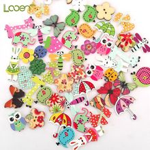 50 Pcs Mixed Animal Button Looen 2 Holes Wooden Beatiful Shaped Buttons Sewing Craft Scrapbooking DIY Tools