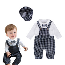 VTOM Newly Toddler Baby Boy Formal Rompers Party Wedding Gentleman Plaid  Jumpsuit +Hats Outfit Clothes