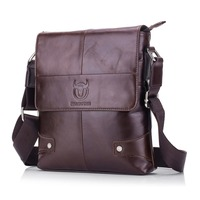 BULLCAPTAIN Men briefcase Bag Genuine Leather Crossbody Shoulder Bag for Man Small Business Bags Male Messenger Leather Bags