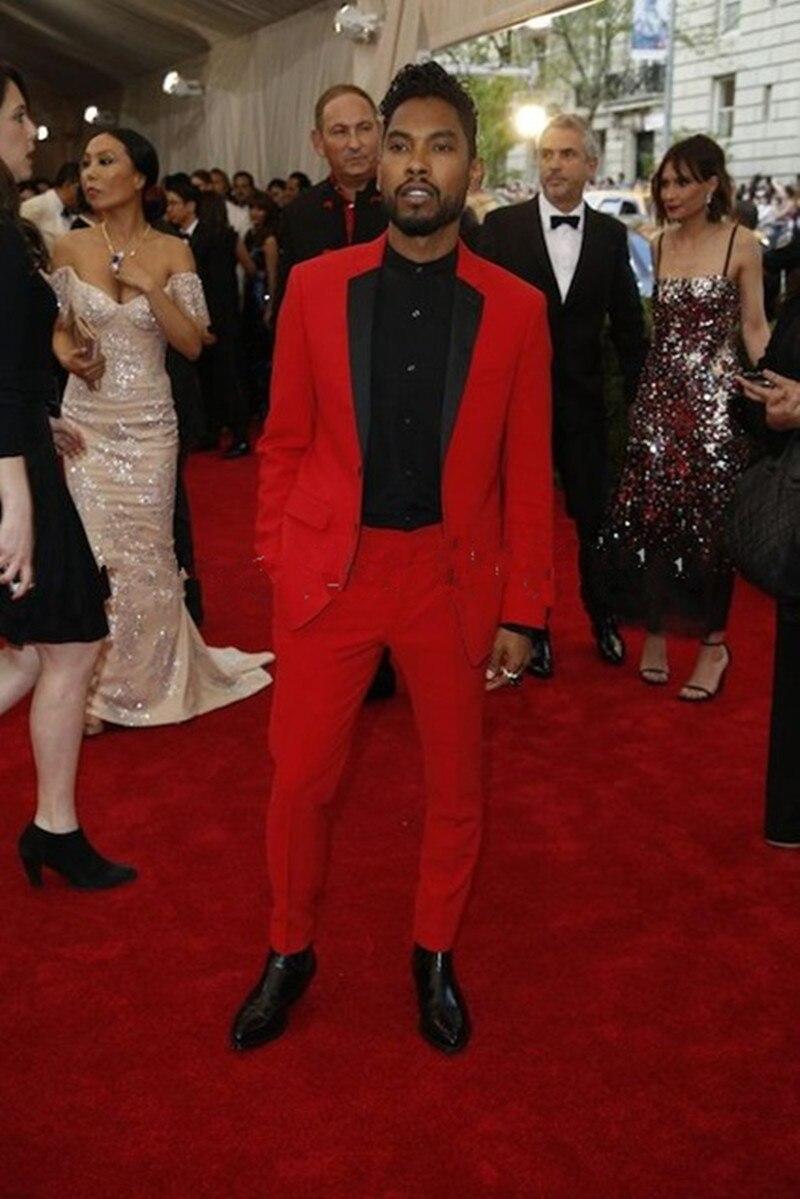 2017 Custom Made Black Lapel Wedding Men Suit Red Prom Suits Formal ...