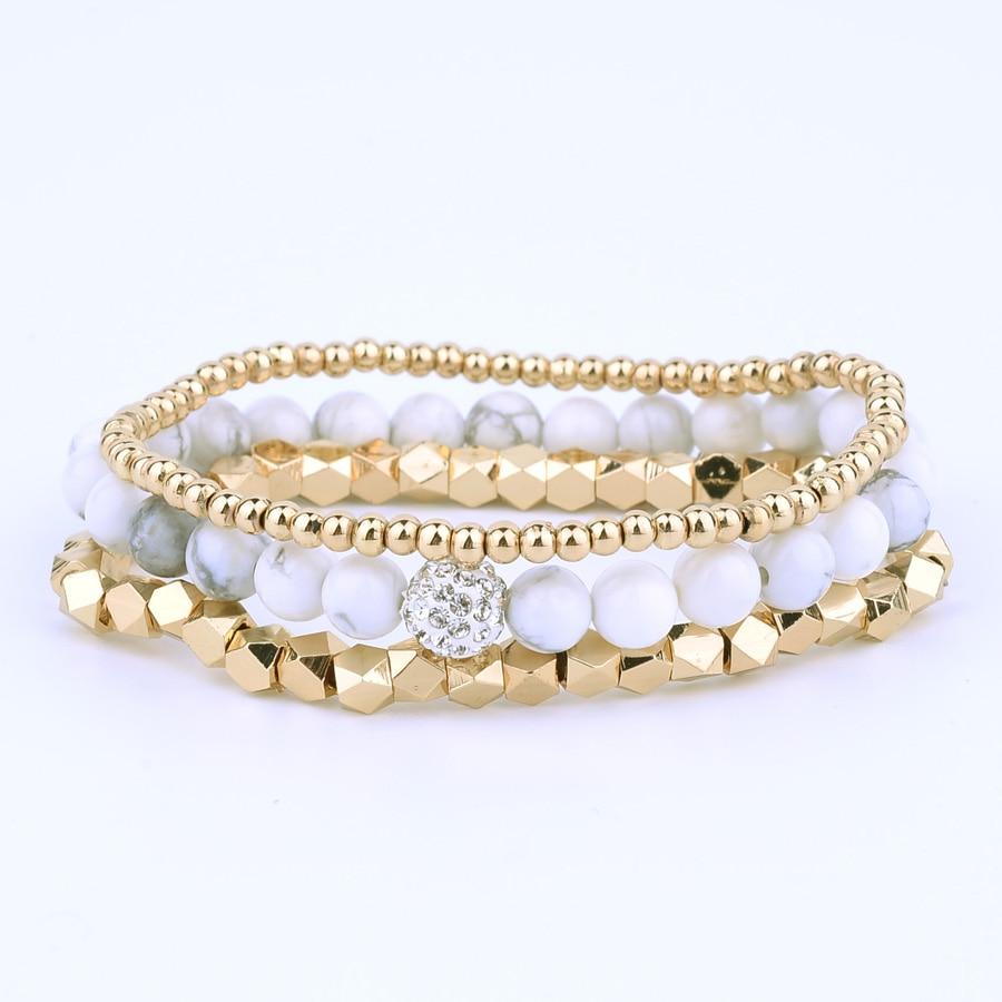 BOJIU White Howlite Bead Bracelet Set , Gold Strand Beaded W