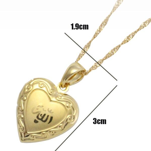 ALLAH MUSLIM heart shape fashion pendant & necklace for women & men, charm Islam Gift & Jewelry  2pcs/lot